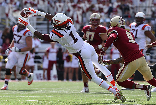 CHESTNUT HILL, MA - OCTOBER 31:  Isaiah Ford #1 of the Virginia Tech Hokie makes a catch as John Johnson #9 of the Boston College Eagles defends in the first half at Alumni Stadium on October 31, 2015 in Chestnut Hill, Massachusetts. (Photo by Jim Rogash/Getty Images)