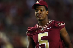 TALLAHASSEE, FL - SEPTEMBER 20:  Jameis Winston #5 of the Florida State Seminoles on the field during pregame against the Clemson Tigers at Doak Campbell Stadium on September 20, 2014 in Tallahassee, Florida.  (Photo by Ronald Martinez/Getty Images)