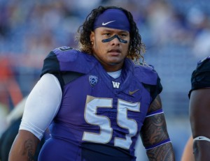 SEATTLE, WA - SEPTEMBER 13:  Nose tackle Danny Shelton #55 of the Washington Huskies looks on prior to the game against the Illinois Fighting Illini on September 13, 2014 at Husky Stadium in Seattle, Washington.  (Photo by Otto Greule Jr/Getty Images)