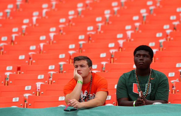 MIAMI, FL - SEPTEMBER 13:  Miami Hurricanes fans look on during a game against the Arkansas State Red Wolves at Sunlife Stadium on September 13, 2014 in Miami, Florida.  (Photo by Mike Ehrmann/Getty Images)