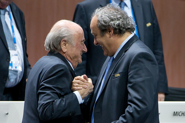 ZURICH, SWITZERLAND - MAY 29: FIFA President Joseph S. Blatter (L) shakes hands with UEFA president Michel Platini during the 65th FIFA Congress at Hallenstadion on May 29, 2015 in Zurich, Switzerland. (Photo by Philipp Schmidli/Getty Images)