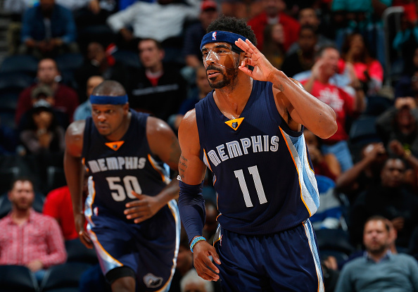 ATLANTA, GA - OCTOBER 21:  Mike Conley #11 of the Memphis Grizzlies reacts after hitting a three-point basket in the final minutes of their 82-81 win over the Atlanta Hawks at Philips Arena on October 21, 2015 in Atlanta, Georgia.  NOTE TO USER User expressly acknowledges and agrees that, by downloading andor using this photograph, user is consenting to the terms and conditions of the Getty Images License Agreement.  (Photo by Kevin C. Cox/Getty Images)