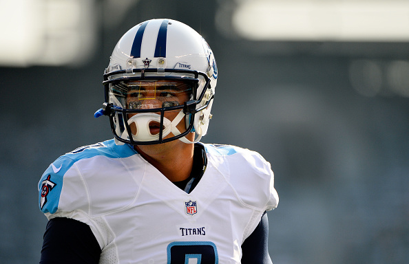 EAST RUTHERFORD, NJ - DECEMBER 13:   Marcus Mariota #8 of the Tennessee Titans warms up for their game against the New York Jets at MetLife Stadium on December 13, 2015 in East Rutherford, New Jersey.  (Photo by Alex Goodlett/Getty Images)