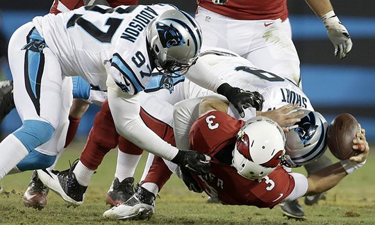 Sunday night, Carson Palmer and the Arizona Cardinals were ripped apart in much the same way that Peyton Manning and the Denver Broncos were shredded by the Seattle Seahawks in Super Bowl XLVIII. If Carolina's defensive pressure is anything close to the NFC Championship Game, the Broncos will have a hard time improving upon their most recent Super Bowl result.