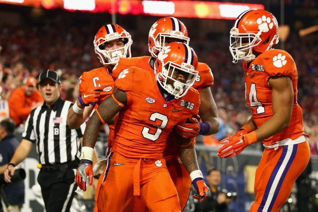 Clemson players celebrate a touchdown during the 2016 College Football Playoff National Championship Game at University of Phoenix Stadium on January 11, 2016 in Glendale, Arizona.