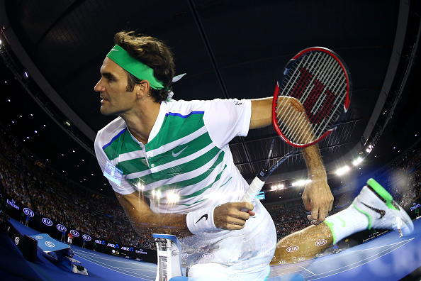 MELBOURNE, AUSTRALIA - JANUARY 22:  (EDITORS NOTE: Multiple exposures were combined in camera to produce this image.) Roger Federer of Switzerland serves in his third round match against Grigor Dimitrov of Bulgaria during day five of the 2016 Australian Open at Melbourne Park on January 22, 2016 in Melbourne, Australia.  (Photo by Ryan Pierse/Getty Images)