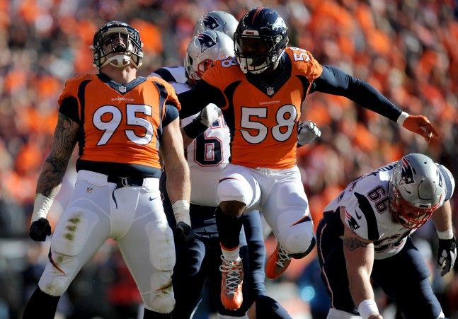 Derek Wolfe (left) and Von Miller (right) had big days in the AFC Championship game at Sports Authority Field at Mile High on January 24, 2016 in Denver, Colorado.