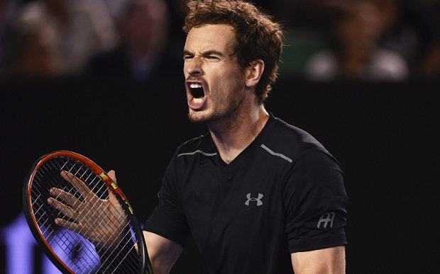 Andy Murray of Britain reacts during the Men's Final against Novak Djokovic of Serbia at the Australian Open tennis tournament in Melbourne, Australia, 31 January 2016.  EPA/TRACEY NEARMY AUSTRALIA AND NEW ZEALAND OUT