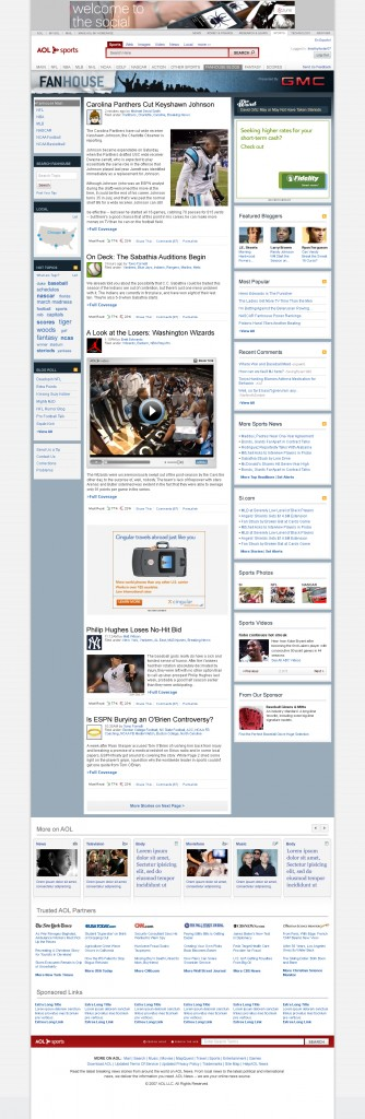 An early screenshot of FanHouse's front page.