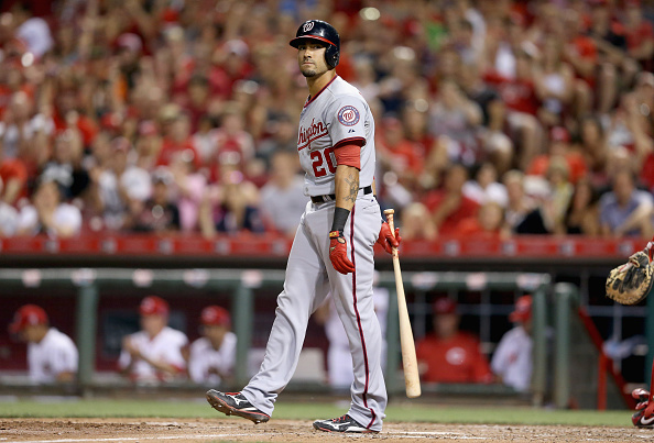 CINCINNATI, OH - MAY 29: Ian Desmond #20 of the Washington Nationals strikes out to end the 8th inning during the game against the Cincinnati Reds at Great American Ball Park on May 29, 2015 in Cincinnati, Ohio.  (Photo by Andy Lyons/Getty Images)