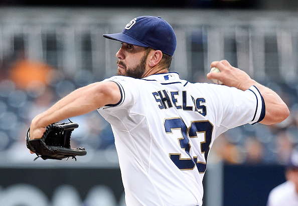 SAN DIEGO, CA - SEPTEMBER 9:  James Shields #33 of the San Diego Padres pitches during the first inning of a baseball game against the Colorado Rockies at Petco Park September 9, 2015 in San Diego, California.  (Photo by Denis Poroy/Getty Images)