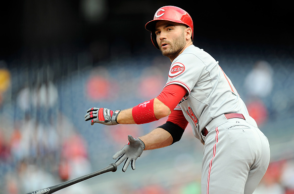 WASHINGTON, DC - SEPTEMBER 28: Joey Votto #19 of the Cincinnati Reds draws a walk in the first inning against the Washington Nationals at Nationals Park on September 28, 2015 in Washington, DC.  (Photo by Greg Fiume/Getty Images)