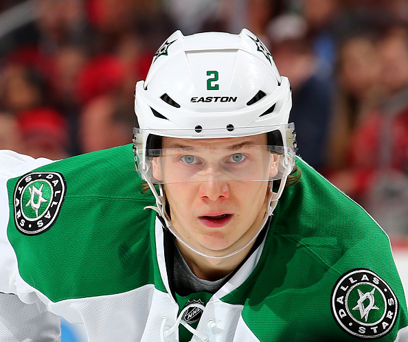 NEWARK, NJ - JANUARY 02:  Jyrki Jokipakka #2 of the Dallas Stars waits for the faceoff against the New Jersey Devils on January 2,2016 at Prudential Center in Newark, New Jersey.The New Jersey Devils defeated the Dallas Stars 3-2.  (Photo by Elsa/Getty Images)