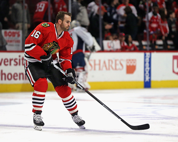 CHICAGO, IL - FEBRUARY 28:  Andrew Ladd #16 of the Chicago Blackhawks particiaptes in warm-ups before a game against the Washington Capitals at the United Center on February 28, 2016 in Chicago, Illinois.  (Photo by Jonathan Daniel/Getty Images)