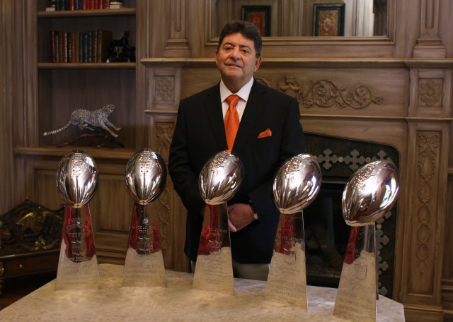 Tampa, FL. 9/11/13---Photos taken at the Edward DeBartolo, Jr.  home in the Avila Golf and Country Club in Tampa, Florida. Eddie DeBartolo, Jr. with five Super Bowl trophies.