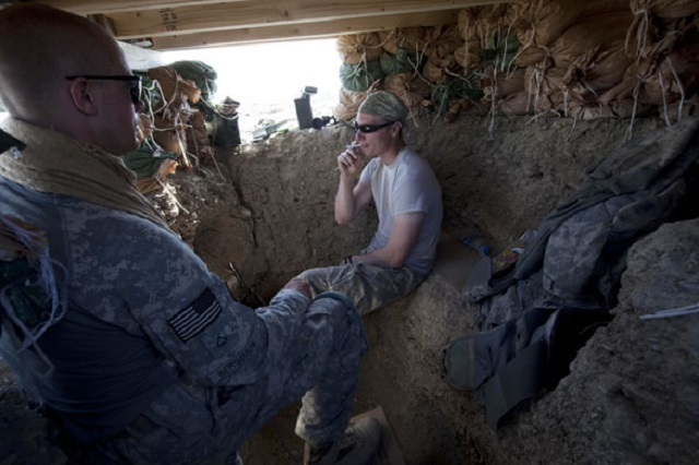 Soldiers from Blackfoot Company man an observation post at Malakh. Photo Credit: Sean Smith for the Guardian