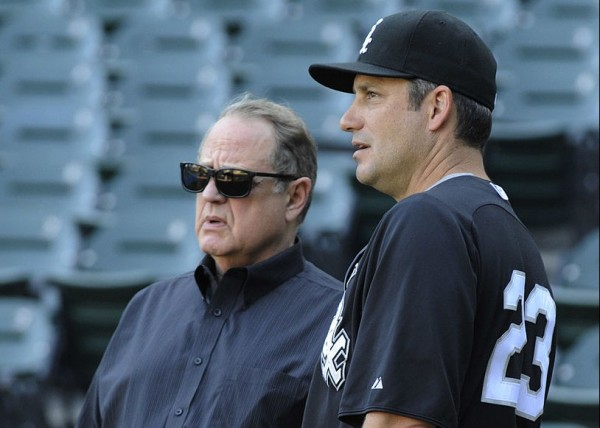 CHICAGO, IL - AUGUST 06: Robin Ventura #23 manager of the Chicago White Sox and Chicago White Sox Chairman Jerry Reinsdorf talk before the game against the Kansas City Royals on August 6, 2012 at U.S. Cellular Field in Chicago, Illinois.  (Photo by David Banks/Getty Images)