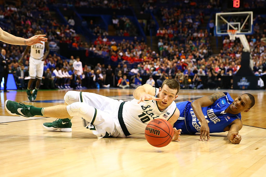 during the first round of the 2016 NCAA Men's Basketball Tournament at Scottrade Center on March 18, 2016 in St Louis, Missouri.