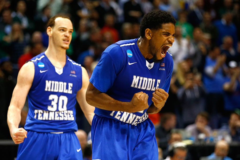 ST LOUIS, MO - MARCH 18:  Reggie Upshaw #30 of the Middle Tennessee Blue Raiders reacts after a dunk late in the game against the Michigan State Spartans during the first round of the 2016 NCAA Men's Basketball Tournament at Scottrade Center on March 18, 2016 in St Louis, Missouri.  (Photo by Jamie Squire/Getty Images)
