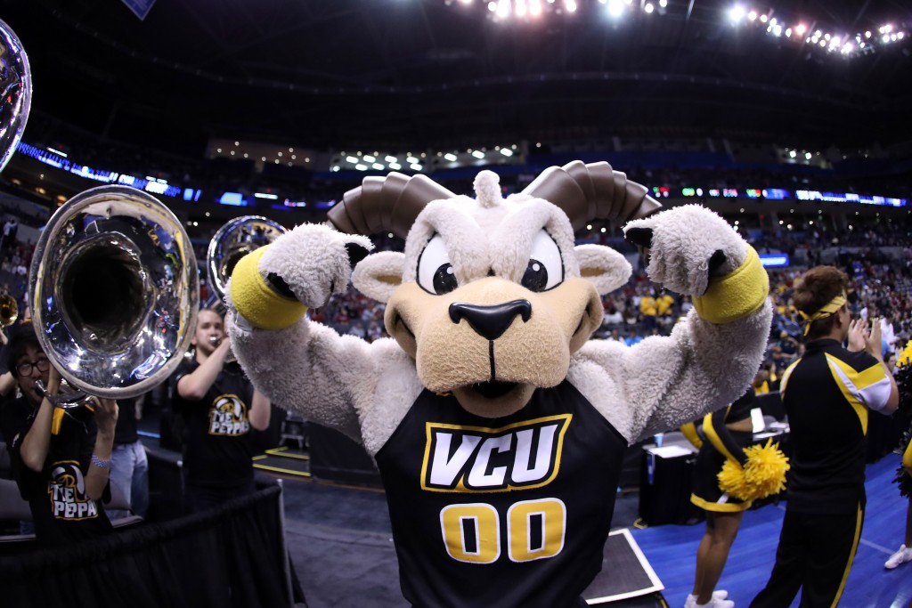 OKLAHOMA CITY, OK - MARCH 20:  The Virginia Commonwealth Rams Mascot performs in the game against the Oklahoma Sooners during the second round of the 2016 NCAA Men's Basketball Tournament at Chesapeake Energy Arena on March 20, 2016 in Oklahoma City, Oklahoma.  (Photo by Ronald Martinez/Getty Images)