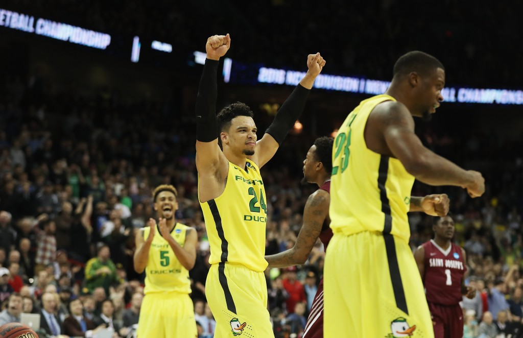 SPOKANE, WA - MARCH 20:  Dillon Brooks #24 of the Oregon Ducks celebrates in the second half against the Saint Joseph's Hawks during the second round of the 2016 NCAA Men's Basketball Tournament at Spokane Veterans Memorial Arena on March 20, 2016 in Spokane, Washington.  (Photo by Ezra Shaw/Getty Images)