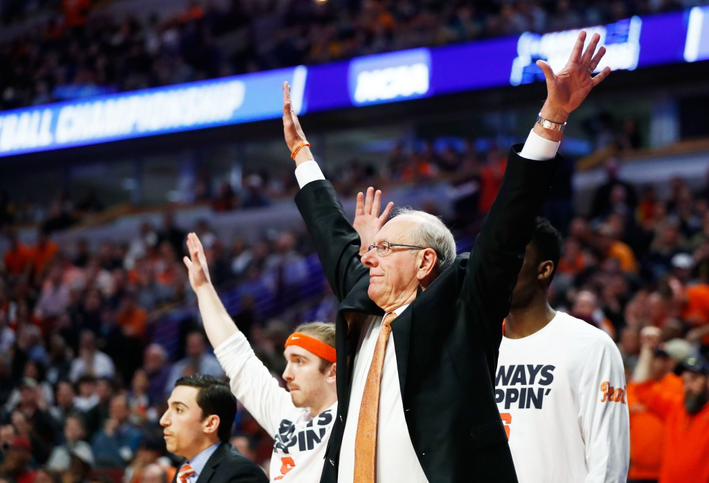 CHICAGO, IL - MARCH 27:  Head coach Jim Boeheim of the Syracuse Orange reacts in the second half against the Virginia Cavaliers during the 2016 NCAA Men's Basketball Tournament Midwest Regional Final at United Center on March 27, 2016 in Chicago, Illinois.  (Photo by Jamie Squire/Getty Images)