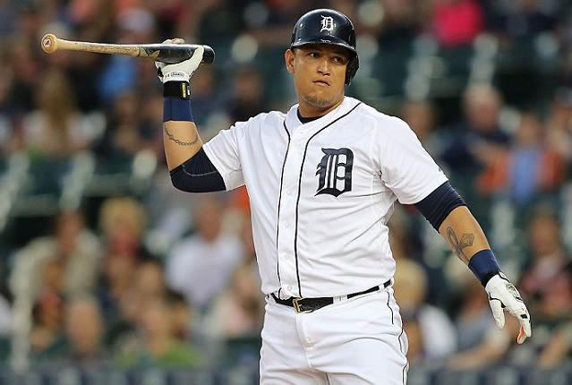 DETROIT, MI - SEPTEMBER 25: Miguel Cabrera #24 of the Detroit Tigers reacts after striking out during the first inning of the game against the Minnesota Twins on September 25, 2015 at Comerica Park in Detroit, Michigan. (Photo by Leon Halip/Getty Images)