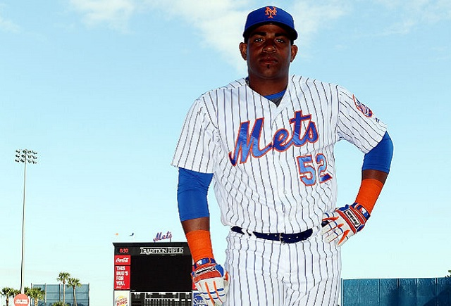 UPITER, FL - MARCH 01: Yoenis Cespedes poses for photos during media day at Traditions Field on March 1, 2016 in Port St. Lucie, Florida. (Photo by Marc Serota/Getty Images)