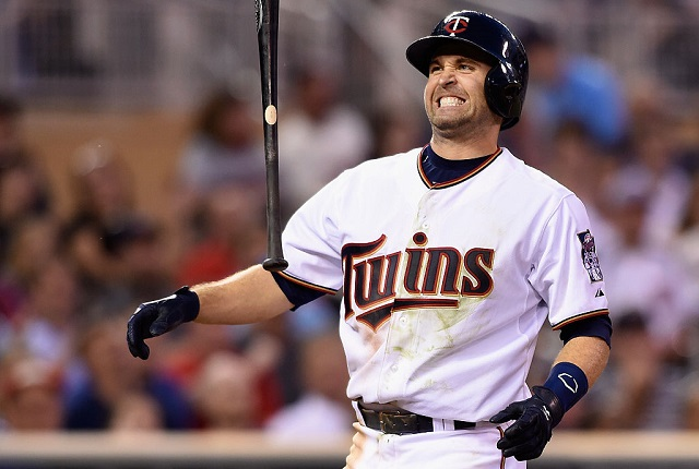 MINNEAPOLIS, MN - JUNE 8: Brian Dozier #2 of the Minnesota Twins reacts to striking out against the Kansas City Royals during the seventh inning of the game on June 8, 2015 at Target Field in Minneapolis, Minnesota. The Royals defeated the Twins 3-1. (Photo by Hannah Foslien/Getty Images)