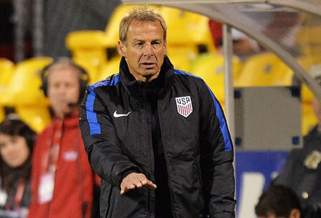 COLUMBUS, OH - MARCH 29:  Head Coach Jurgen Klinsmann of the United States Men's National Team sends instructions to his team in the second half against Guatemala during the FIFA 2018  World Cup qualifier on March 29, 2016 at MAPFRE Stadium in Columbus, Ohio. The United States defeated Guatemala 4-0.  (Photo by Jamie Sabau/Getty Images)