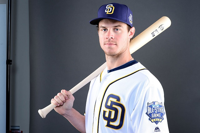 PEORIA, AZ - FEBRUARY 26: Outfielder Wil Myers #4 of the San Diego Padres poses for a portrait during spring training photo day at Peoria Sports Complex on February 26, 2016 in Peoria, Arizona. (Photo by Jennifer Stewart/Getty Images)