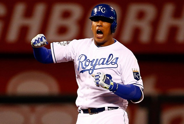 KANSAS CITY, MO - OCTOBER 28: Salvador Perez #13 of the Kansas City Royals reacts in the eighth inning against the New York Mets in Game Two of the 2015 World Series at Kauffman Stadium on October 28, 2015 in Kansas City, Missouri. (Photo by Jamie Squire/Getty Images)