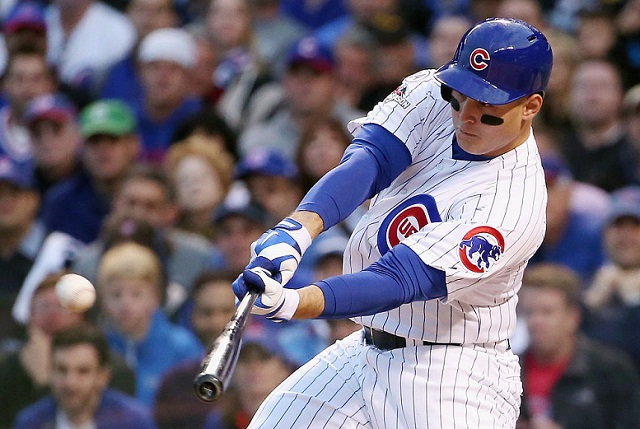 CHICAGO, IL - OCTOBER 13:  Anthony Rizzo #44 of the Chicago Cubs hits a solo home run in the sixth inning against the St. Louis Cardinals during game four of the National League Division Series at Wrigley Field on October 13, 2015 in Chicago, Illinois.  (Photo by Jonathan Daniel/Getty Images)