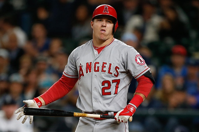 SEATTLE, WA - SEPTEMBER 16:  Mike Trout #27 of the Los Angeles Angels of Anaheim reacts after striking out with a runner on first to end the top of the eighth inning against the Seattle Mariners at Safeco Field on September 16, 2015 in Seattle, Washington.  (Photo by Otto Greule Jr/Getty Images) *** Local Caption *** Mike Trout