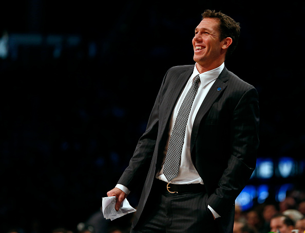 NEW YORK, NY - DECEMBER 6: Interim head coach Luke Walton of the Golden State Warriors during the second quarter against the Brooklyn Nets in an NBA basketball game at the Barclays Center on December 6, 2015 in the Brooklyn borough of New York City. The Warriors defeated the Nets 114-98. NOTE TO USER: User expressly acknowledges and agrees that, by downloading and/or using this Photograph, user is consenting to the terms and conditions of the Getty Images License Agreement. (Photo by Rich Schultz/Getty Images)