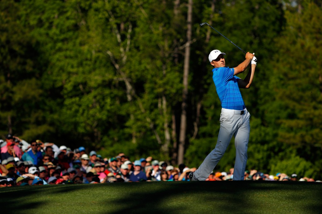 AUGUSTA, GEORGIA - APRIL 10:  Jordan Spieth of the United States plays his shot from the 12th tee during the final round of the 2016 Masters Tournament at Augusta National Golf Club on April 10, 2016 in Augusta, Georgia.  (Photo by Kevin C. Cox/Getty Images)