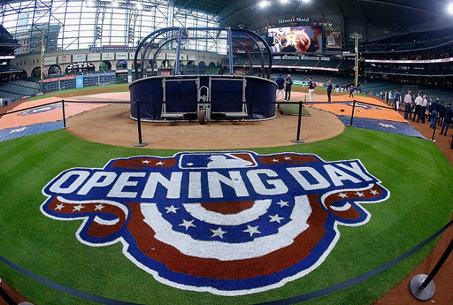 HOUSTON, TX - APRIL 11:  Opening day  between the Kansas City Royals and Houston Astros at Minute Maid Park on April 11, 2016 in Houston, Texas.  (Photo by Bob Levey/Getty Images)