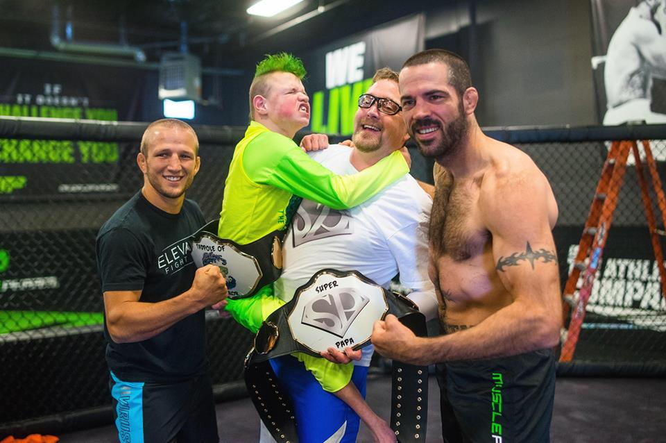 "Matt Brown and T.J. Dillashaw with ""The Tadpole of Terror"""