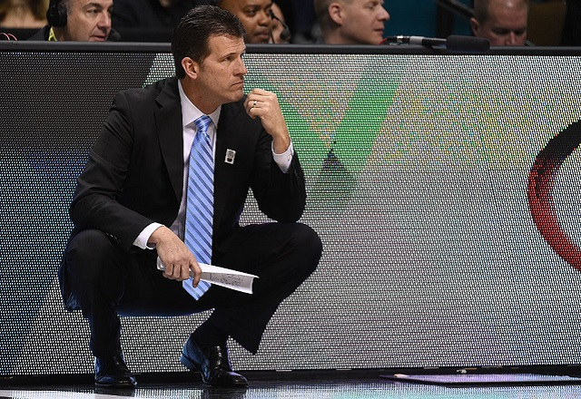 LAS VEGAS, NV - MARCH 09: Head coach Steve Alford of the UCLA Bruins looks on during a first-round game of the Pac-12 Basketball Tournament against the USC Trojans at MGM Grand Garden Arena on March 9, 2016 in Las Vegas, Nevada. (Photo by Ethan Miller/Getty Images)