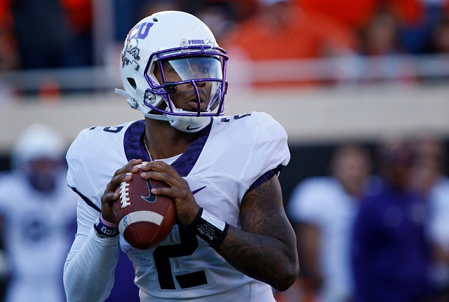 STILLWATER, OK - NOVEMBER 7:  Quarterback Trevone Boykin #2 of the TCU Horned Frogs looks to pass against the Oklahoma State Cowboys November 7, 2015 at Boone Pickens Stadium in Stillwater, Oklahoma. The Cowboys defeated the Horned Frogs 49-29. (Photo by Brett Deering/Getty Images)