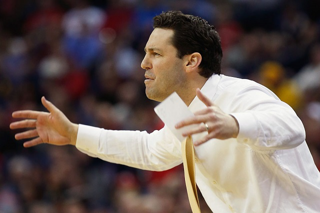 COLUMBUS, OH - MARCH 20: Head coach Bryce Drew of the Valparaiso Crusaders directs his team during the second round of the Men's NCAA Basketball Tournament at Nationwide Arena on March 20, 2015 in Columbus, Ohio. (Photo by Kirk Irwin/Getty Images)