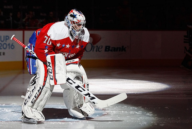 WASHINGTON, DC - MARCH 04: Braden Holtby #70 of the Washington Capitals prepares for his game against the New York Rangers at the Verizon Center on March 4, 2016 in Washington, DC. The Rangers defeated the Capitals 3-2. (Photo by Bruce Bennett/Getty Images)
