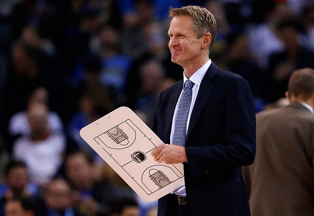 OAKLAND, CA - JANUARY 22: Head coach Steve Kerr of the Golden State Warriors stands on the side of the court during a time out of their game against the Indiana Pacers at ORACLE Arena on January 22, 2016 in Oakland, California. This is Kerr's first game of the season.  (Photo by Ezra Shaw/Getty Images)