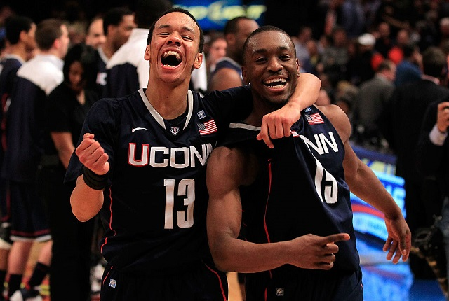 NEW YORK, NY - MARCH 10:  Shabazz Napier #13 and Kemba Walker #15 of the Connecticut Huskies celebrate after defeating the Pittsburgh Panthers during the quarterfinals of the 2011 Big East Men's Basketball Tournament presented by American Eagle Outfitters  at Madison Square Garden on March 10, 2011 in New York City.  (Photo by Chris Trotman/Getty Images)