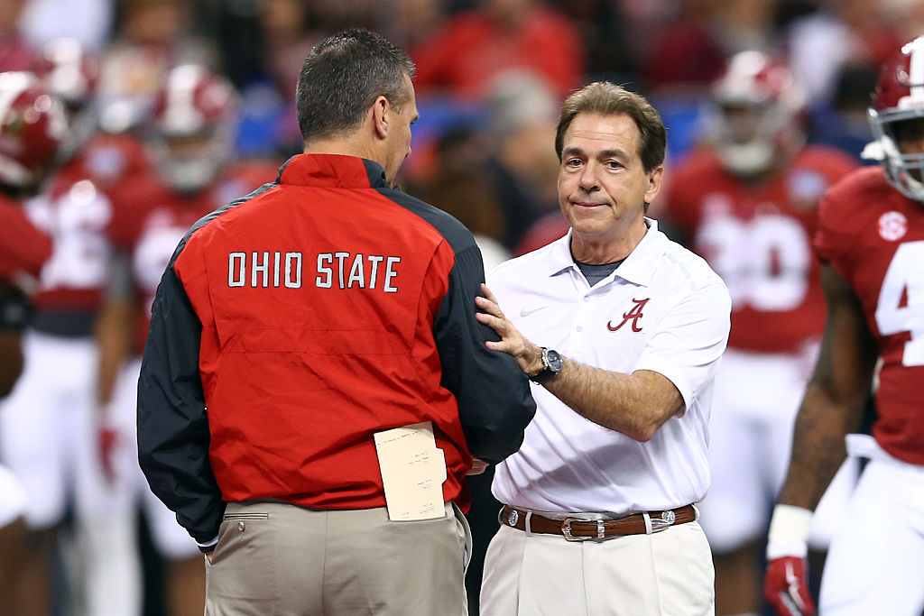 Alabama's Nick Saban and Ohio State's Urban Meyer ahead of the 2015 Sugar Bowl.