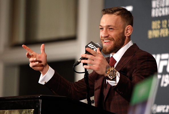 LAS VEGAS, NV - DECEMBER 12:  Conor McGregor speaks at a post-fight press conference after beating Jose Aldo in their featherweight title fight during UFC 194 at MGM Grand Garden Arena on December 12, 2015 in Las Vegas, Nevada. McGregor won with a first-round knockout.  (Photo by Steve Marcus/Getty Images)