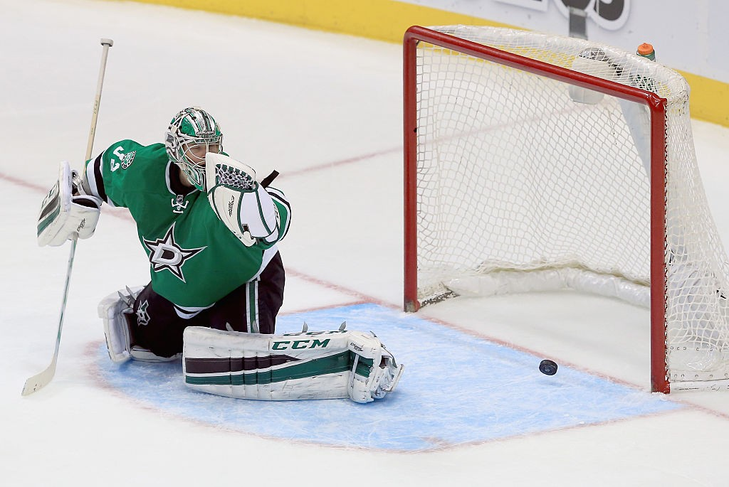 DALLAS, TX - FEBRUARY 27: Kari Lehtonen #32 of the Dallas Stars fails to stop the game winnning goal against the New York Rangers in the third period at American Airlines Center on February 27, 2016 in Dallas, Texas. (Photo by Tom Pennington/Getty Images)