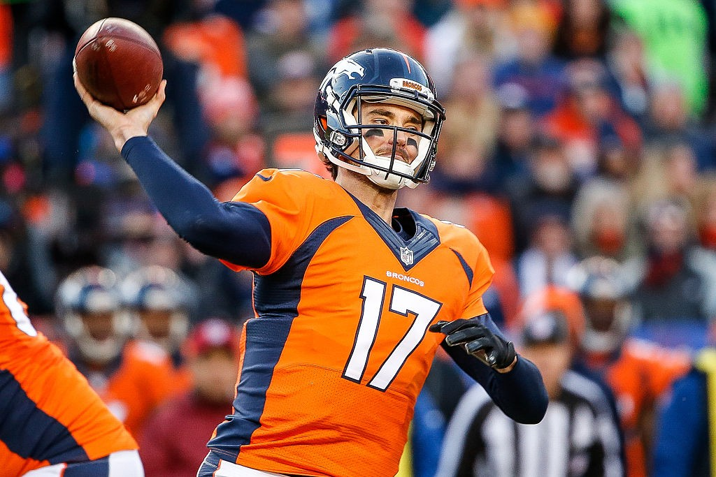 DENVER, CO - JANUARY 3:  Quarterback Brock Osweiler #17 of the Denver Broncos passes against the San Diego Chargers during the first half of a game at Sports Authority Field at Mile High on January 3, 2016 in Denver, Colorado. (Photo by Sean M. Haffey/Getty Images)