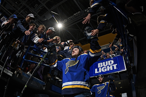 ST. LOUIS, MO - MAY 9: Vladimir Tarasenko #91 of the St. Louis Blues greets fans prior to Game Six of the Western Conference Second Round during the 2016 NHL Stanley Cup Playoffs against the Dallas Stars at the Scottrade Center on May 9, 2016 in St. Louis, Missouri.  (Photo by Scott Rovak/NHLI via Getty Images)