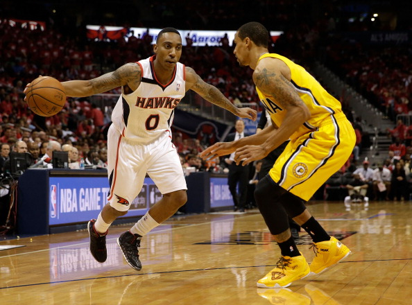 Jeff Teague facing off with the Pacers
